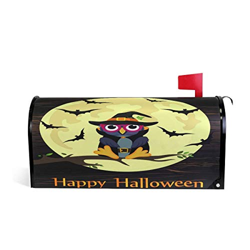 Mailboxcoverfhiw Halloween Owl in Witch Costume Magnetic Mailbox Cover Standard Size 6.5