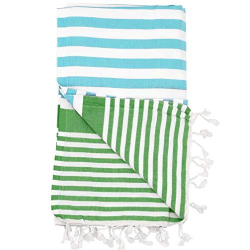 The Riviera Towel Company Amalfi Aqua Green Turkish Towel for Bath & Beach Swimming Pool Yoga Pilates Picnic Blanket Scarf Wrap - Peshtemal Hammam Fouta