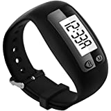 Bereezy Fitness Tracker Watch, Simply Operation Fitness Tracker Pedometer Step Counter with Calorie Counter for Walking Running Distance (Black)