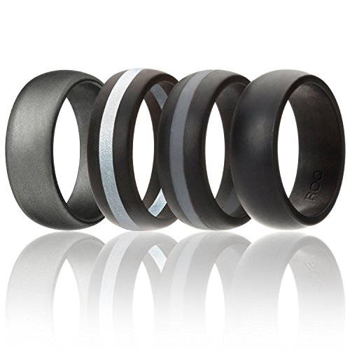 ROQ Silicone Wedding Ring For Men, Silicone Rubber Band 4 Pack - Black, Grey, Silver, Beveled Metallic Platinum, Size (Lifetime Platinum Rings)