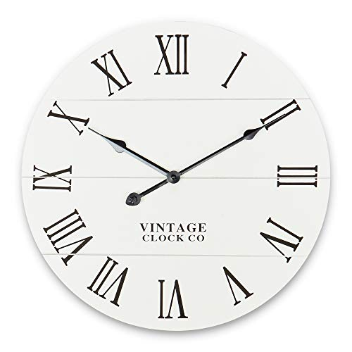 Rustic Wall Clock - Kitchen/Home/Farmhouse/Dining Room/Vintage/Grandfather Clocks - Decorative Wooden Clock - Modern Decor - Round Decoration - Farm House Wallclock - Vintage Kitchen Clock - Classroom (Vintage Clock Wall White)