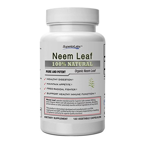 Superior Labs — Neem Leaf Supplement NonGMO, Non Synthetic — 500 mg Dosage, 120 Vegetable Capsules — Healthy Skin - Normal Immune Function — Maintain Appetite — Healthy Digestion