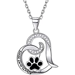 "Silver Crystal Animal Pet Memorial Necklaces for Women"" Always in my heart"" Cat Dog Puppy Paw Print Heart Shape Pendant Necklace Bijoux"