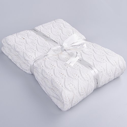 NTBAY 100% Cotton Cable Knit Throw Blanket with Leaf Pattern Design, Super Soft and Warm, 51'x 67', White