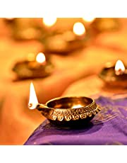 Hashcart Diya for Diwali Decoration Made Up of Pure Brass - Dia Oil Lamp (Set of 8)