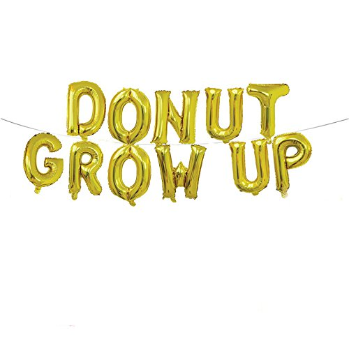 Yalulu 16 inch Donut Grow up Rose Gold/Gold Foil Balloons Banner Donut Grow up Birthday Balloons Donut Theme Party Decorations Supplies (Gold) (Donut 16in)
