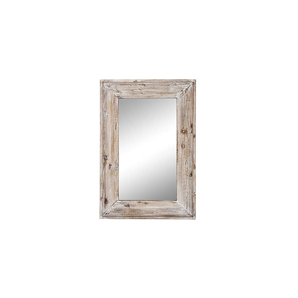 Emaison 36 x 24 inches Wall Mounted Decorative Mirror, Rustic Wood Framed Rectangular Hanging Mirror with 4 Hangers for…