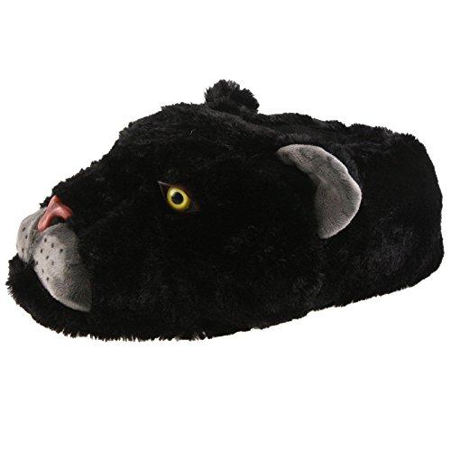 SAMs Black Panther Tier Hausschuhe Pantoffel Puschen Schlappen Kuscheltier Plüsch Herren Schwarz 35-46, TH-RaubkatzePanther Schwarz