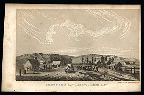 Salt Lake City street view Utah 1853 Ackerman litho print among earliest -
