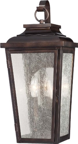 19' Outdoor Wall Lantern (Minka Lavery 72170-189, Irvington Manor Aluminum Bronze Outdoor Wall Sconce Light, 150 Watts with Clear Seeded Glass)