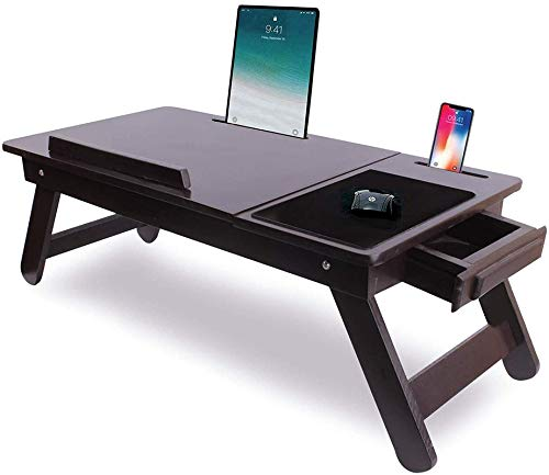 aaRF Laptop Table for Home Adjustable Foldable Bed/Multi-Function Portable Tablet Dock Stand & Mobile Holder| Study Table| Mouse Pad (Brown Holder 2)