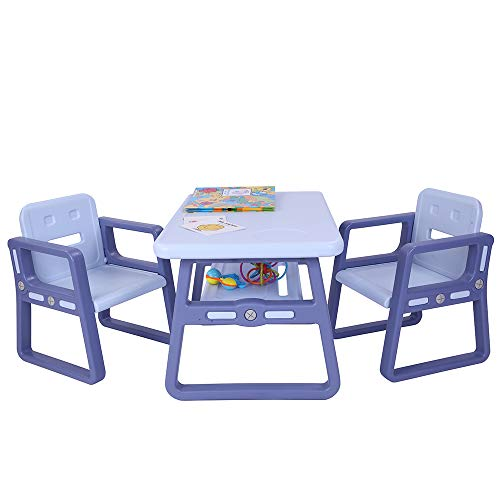 - Simply-Me Kids Table and Chairs Set Children Table Furniture 1 Childrens Tables with Storage Space & 2 Chairs for Toddlers Reading,Dining,Train,Art Play-Room (Blue)