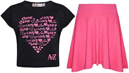 8477fce2c768 A2Z 4 Kids Girls Top Kids Love Print Stylish Crop Top & Skater Skirt Set 5