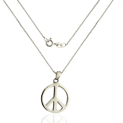 925 Sterling Silver Peace Sign Necklace (Pendant with Chain) (Sign Silver Necklace Sterling Peace)