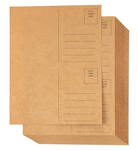 - Blank Postcards - 100-Sheet Kraft Paper Postcards, Self Mailer Mailing Side Postcards, 2 Per Page 200 Cards in Total, Perforated, 5.5 x 8.5 Inches