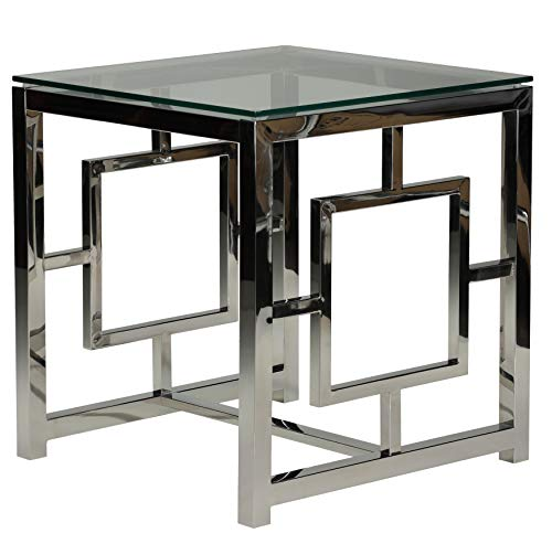 Cortesi Home Kamdyn Square Contemporary End Table, Metal Glass