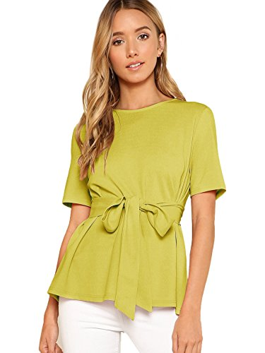 Romwe Women's Casual Self Tie Summer Round Neck Short Sleeve Blouse Tops Yellow# ()