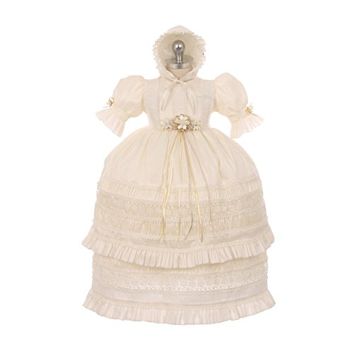 RainKids Baby Girls Ivory Shantung Trim Ruffle 3 Pc Bonnet Baptism Gown 12M by The Rain Kids