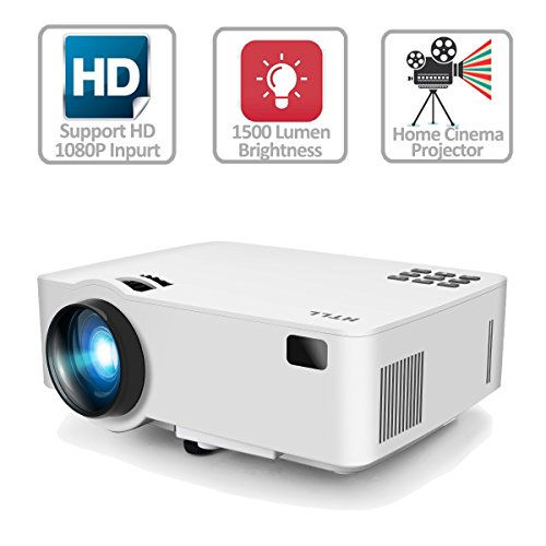 Video Projector, HTLL Home Cinema Mini Projector, 1500Lumens, HD Projector Support 1080P, HDMI, VGA, USB, AV,SD Input for Home Entertainment, TV, Laptop, Gaming, Smartphone etc