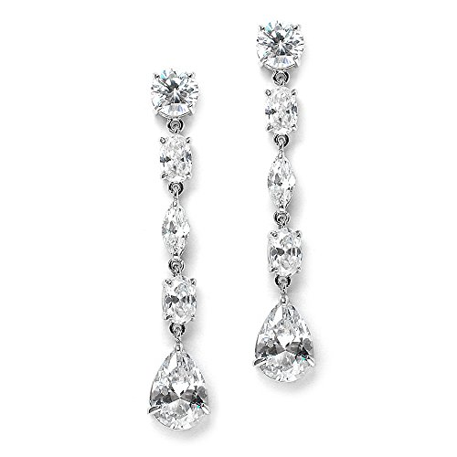Mariell Gorgeous Linear Mix-Shape Cubic Zirconia Bridal, Prom & Holiday Dangle Earrings - Platinum Plated (Marquis Shaped Earrings)