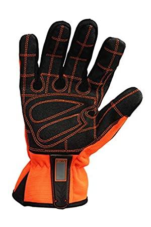 Mechanic Work Gloves SBR Padding Rigger Gloves TPR Protector Impact Gloves Heavy Duty Work Gloves Men Anti Vibration (Size- Large) (Color: Orange, Tamaño: Large)