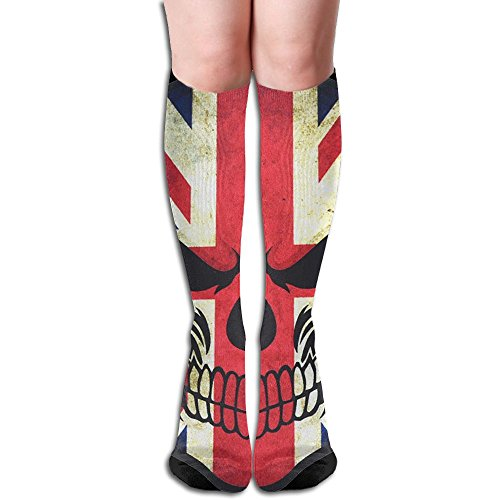Women's Over Knee Thigh High Stocking UK Flag Sugar Skull Winter Warm Sexy Stocks Knitting Welt ()