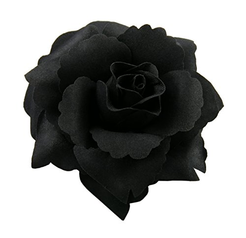 Silk Rose Flower Hair Clip Bridal Wedding 3.75 Inches. (Black)