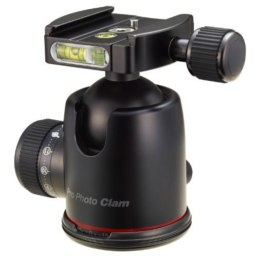 Photo Clam PRO-38NS Professional Ball Head with Friction Control, Side and Top Bubble Levels (38mm Ball) by Photo Clam