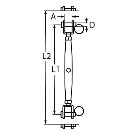 2x V4A Edelstahl Wantenspanner M10 Gabel Drahtseil Spannschloss Seilspanner Spanner