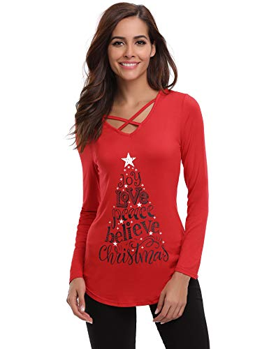 iClosam Womens Sexy Criss Cross Front V-Neck Long Sleeve Christmas Letter Print T-Shirt Tunic Tops (X-Large, D-red)