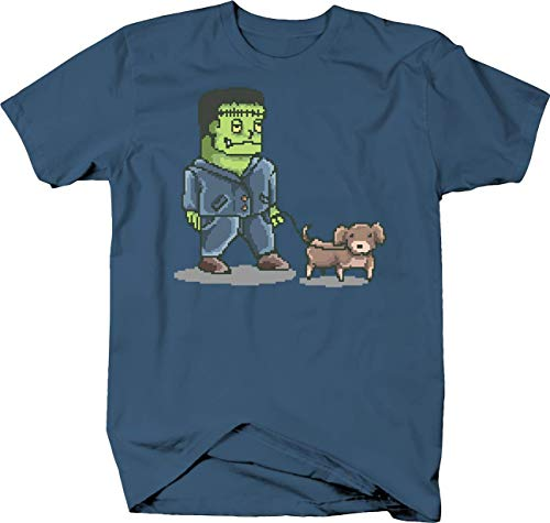 Frankenstein Walking Dog Pixel Art Horror Halloween Monster Tshirt Medium Denim Blue