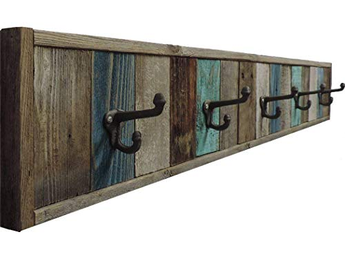 ABW Decor, Reclaimed Barn Wood Towel Rack 5 Hook Wall Mounted, 47 inches Multi Bath Towel Hanger, Decorative Wooden Farmhouse Bathroom Accessories Sets. AllBarnWood Decor.