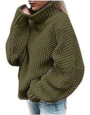 Y2k gebreide trui met rolkraag voor dames, katoen, effen, gebreide trui voor dames, oversized, grof gebreid, lange mouwen, Y2k streetwear, oversized, pullover voor meisjes en tieners