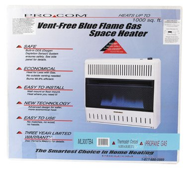 Procom Heating TV206214 30K LP Gas Wall Heater
