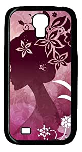 Samsung Galaxy S4 Case and Cover -Woman With Flowers PC case Cover for Samsung Galaxy S4 SIV I9500-Black