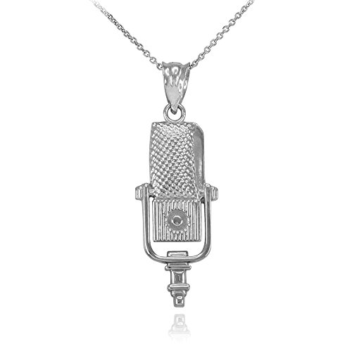 Recording Microphone Music Studio Necklace 925 Sterling Silver