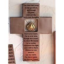 1 X Eternal Flame Memorial Wall Cross Plaque Crucifix Bereavement Gift Roman 64214