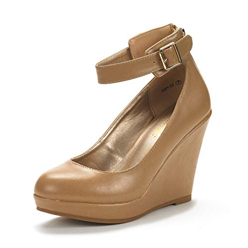 DREAM PAIRS Women's ASH-22 Nude Pu Mary Jane Round Toe Platform Fashion Wedges Pumps Shoes Size 8 US ()