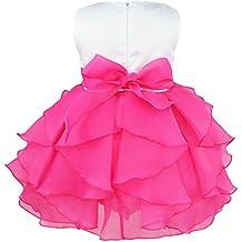 Freebily Infant Babys Sleeveless Organza Tutu Dresses Princess Party Baptism Flower Girl Dress Rose 3-6 Months