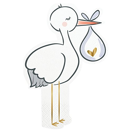 Stork Themed Napkins - Baby Shower, Gender Reveal Party, Sip and See Party (1 Package, 20 (Stork Baby Shower Decorations)