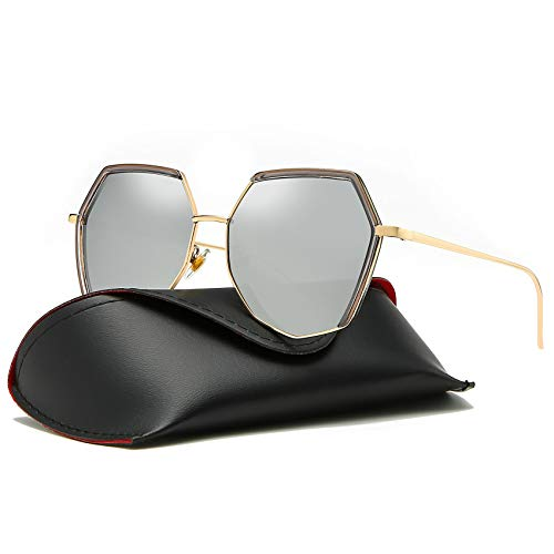 MOULYAN Polarized Oversize Sunglasses for Women Vintage Retro Men Grey ()