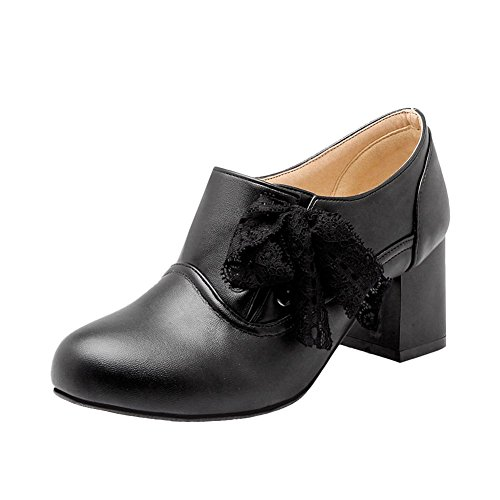 Carolbar Womens Plus Taille Dentelle Douce Mignonne Mode Lacets Mi-talon Oxfords Chaussures Noir