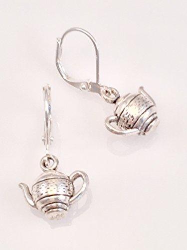 Antiqued Pewter Teapot Earrings ()