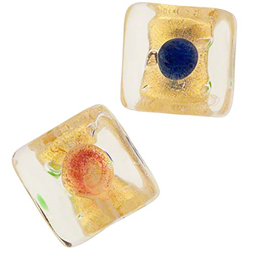 Murano Glass 10mm Cube with Colorful Multi Dots Clear Gold, 2 Pieces (Cubes Venetian Glass Beads)