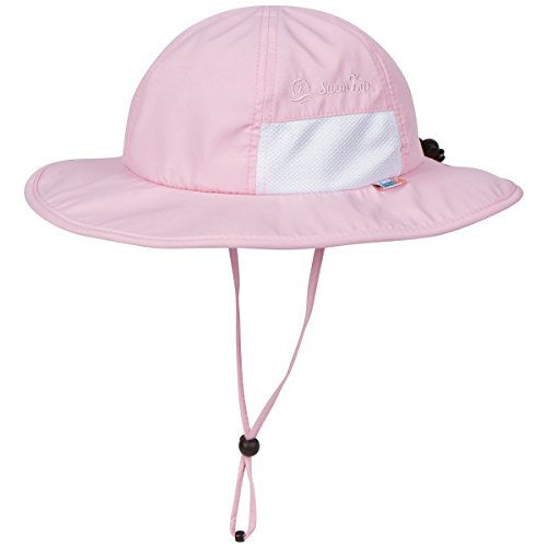 SwimZip Unisex Child Wide Brim Sun Protection Hat UPF 50 Adjustable Pink 6-24 Month
