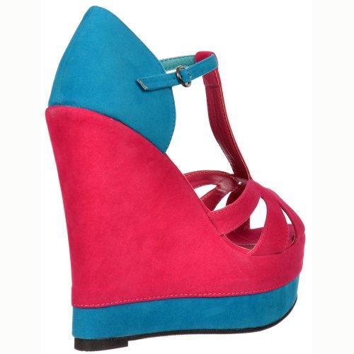 Suede Sandals Signore Tone Two blu Delle Wedge Blu Platform Onlineshoe Rosa Donne cinturino Fucsia xgwa0