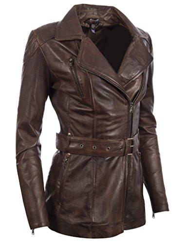 MDK Mujer Moda Nevada Alta Brown Estiloso Con Calidad Auténtico Por Ultra Cinturón Cuero Chaqueta nrrPYqFw