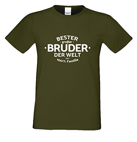 Bruder Geschenkeset Fun-T-shirt zu Weihnachten oder zum Geburtstag mit GRATIS Urkunde - Bester großer Bruder der Welt Farbe: khaki Gr: 4XL