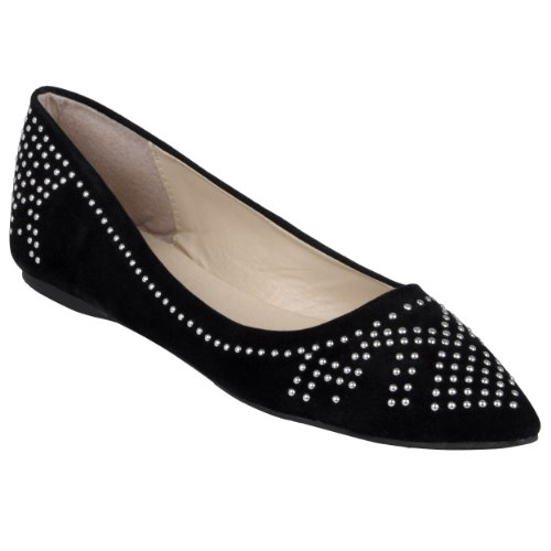 Brinley Co Women Studded Pointed Toe Ballet Flats