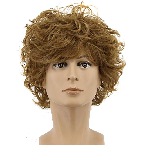 Yuehong Men's Short Brown Curly Fluffy Cool Nautral Looking Party Halloween Cosplay Costume Wigs]()